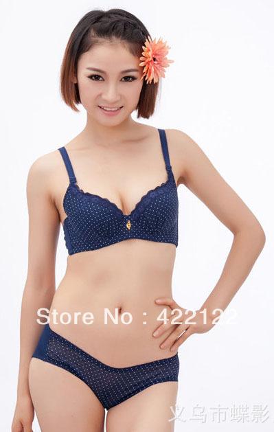 women's sexy bra set (Printing small ideas + lace)bra+briefs lingerial ladies barasiere903-3black(China (Mainland))