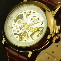 Hot sell,Men's Rose Gold Luxury Watches ,Vintage Fashion Style Automatic Wrist Watch,Genuine Leather Band Watch,Free Shipping