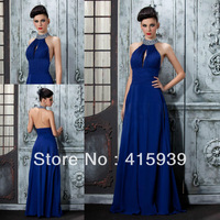 Free shipping navy blue high neck halter chiffon beaded floor length long prom dress 2013 WH288