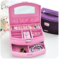 Free shipment Hearts . cosmetic box jewelry box fashion princess wind deerskin double layer wool jewelry box display rack