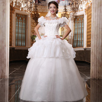 2012 slit neckline puff sleeve bag wedding dress princess elegant hs8612