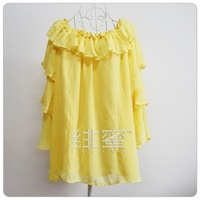 5101 yellow shirt soft chiffon strapless two ways spaghetti strap
