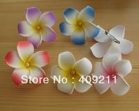 NEW ARRIVAL ! 7-8cm KL812 FREE SHIPPING +300PCS 7-8 Foam plumerua w white pearls & Brooch+ MIXED COLORS  HAWAIIAN Flower
