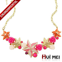 Free Shipping (Min Mix Order $10) New Arrival Women Classic Gold Plated Colorful Starfish Resin Crystal Choker Necklace Jewelry