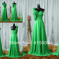 Hot sell real photo green a line one shoulder pleats chiffon evening dress women gown WL204