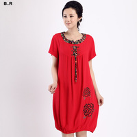 2013 summer casual dress quinquagenarian summer plus size slim one-piece dress 8038