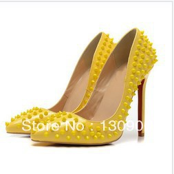 2013 new arrival yellow spike leather women high heel pumps designer pointed toe ladies evening party shoes