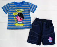 New!100% cotton boys peppa pig clothing suits kids short sleeve peppa pig carton sets for 1-5Y boys boys outfits*2 colors