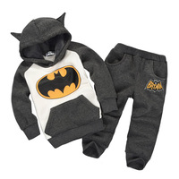2013 autumn baby & child  thermal fleece thick and warm sweatshirt & pants set  batman stylist   80#--120#