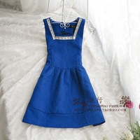 Royal vintage gentlewomen slim waist all-match elegant basic sleeveless vest one-piece dress