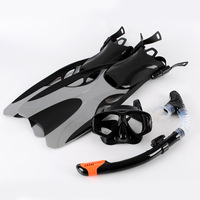 Snorkeling set pure silicone anti-fog stalinite diving glasses+ full dry a breathing tube+ long flipper