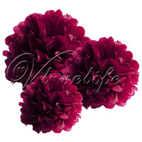 "Free shipping 10pcs 38cm 15"" Burgundy Tissue Paper Pom Poms Wedding Birthday Party Home Decor Craft Favors"