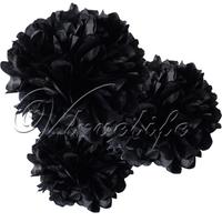 "Free shipping 10pcs 38cm 15"" Black Tissue Paper Pom Poms Wedding Birthday Party Home Decor Craft Favors"