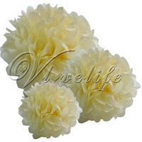 "Free shipping 10pcs 38cm 15"" Ivory Cream Tissue Paper Pom Poms Wedding Birthday Party Home Decor Craft Favors"