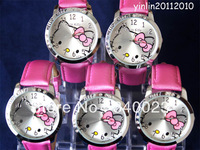 Wholesale 5pcs High Quality Pink Hello Kitty Lady Students Girl Womens Woman Fashion Gift Quartz Wrist Watches, K1-PK