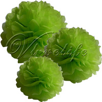 """Free shipping 10pcs 38cm 15"""" Lime Green Tissue Paper Pom Poms Wedding Birthday Party Home Decor Craft Favors"""