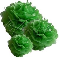 "Free shipping 10pcs 38cm 15"" Dark Green Tissue Paper Pom Poms Wedding Birthday Party Home Decor Craft Favors"