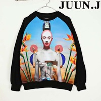 2013 juun . flower j hallucinogenic 3d lovers lady sweatshirt outerwear male  Free shipping