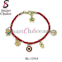 12Pcs/Lot Handmade Bracelet Gold Plated Flower Tag And Eyes Charms Sideways