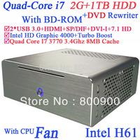 Desktop i7 quad core 3770 3.4Ghz DVD rewriter BD-ROM Intel HD Graphic 4000 8MB cache 2G RAM 1TB HDD windows or linux alluminum