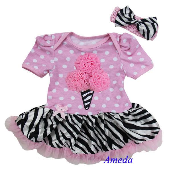 Baby Ice Cream Light Pink Polka Dots Zebra Bodysuit Pettiskirt and Headband 0-18M(Hong Kong)