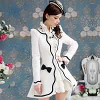 Plus Size British Style Noble Vintage Ladies Jackets Outerwear White Black Bow Topcoat  Slim Long-Sleeve Women's Woolen Coats