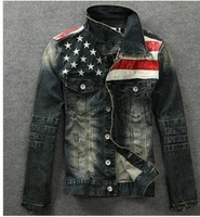 Drop shipping!New American flag jeans jacket for men do old jeans denim coat Fashion motorcycle jeans short jacket ,casual men
