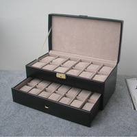 26-slot daul layer wooden struction leather dress fashion watch jewelry box case container organizer gift black 208B