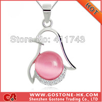 DZ1037 Cute Animal Penguin Necklace Pendant , S925 Sterling Silver Rhinestone Artificial Cat's Eye Opal Material Necklace