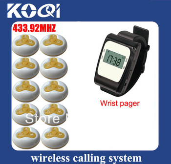 433.92mhz The Clock Wireless Calling System Waiter Service Paging System for Restaurant K-630+O3 transmitter and receiver