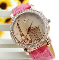 Min.order is 1pcs (mix order)  Crystal tower wrist watch fashion belt arc DE triomphe - 63938