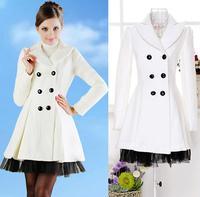 Plus Size 2013 Gorgeous Elegant Europe Style Autumn Winter Ladies Patchwork Gauze Skirt Caots Thick White Cashmere Overcoat