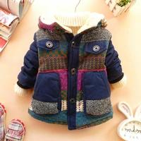 2014 New arrival children outerwear baby boys winter warm hoodies fleece lining big pocket outerwear coat free shipiing