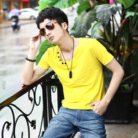 2013 slim V-neck male short-sleeve T-shirt non-mainstream short-sleeve T-shirt solid color button t-shirt student t-shirt