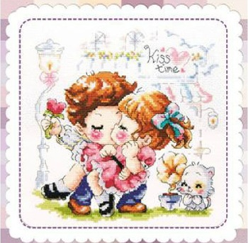 14ct 2 Strands Counted Cross Stitch kit Sweet Kiss Needlework CR1049