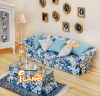 iland 1/12 Dollhouse Miniature Furniture Living Room Mediterranean Furniture three sits sofa WL0682