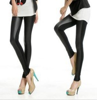 Top sale B50 Fashion Sexy Faux Leather Boots Pants Skinny Patchwork Leggings Black Free Shipping