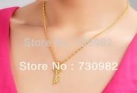 9k 14k 18 k yellow gold  women necklace gold double love key  pendant  Fashion Jewelry birthday  gift  free shipping