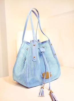 Cryptograph women's handbag sweet stripe mesh tassel drawstring bucket bag messenger bag tianlan powder