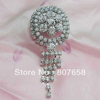 Free shipping crystal loop with tassels brooch pin for wedding, 6 pieces/lot, item no.: BH7547