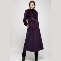 Trench ruffle collar design long overcoat mink hair elegant ultra long trench female