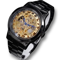 new 2013 Ik full black honourable male fully-automatic mechanical watch double faced cutout men's watch men mechanical hand wind