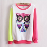 [Amy]hot style big owl 4 color women's hoodies,high quality one size casual full sleeve sweatshirts free shipping 6373