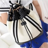 Canvas travel backpack PU female fashion college students school bag preppy style travel backpack