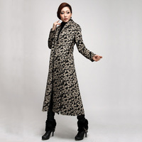 2013 women's outerwear british style clothing cashmere overcoat leopard print color ultra long trench female