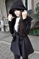 13 autumn and winter women cool street medium-long with a hood trench fashion ruffle asuka expansion bottom female outerwear