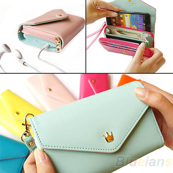 Wholesale 2013 new wallet Mobile Phone Bags Women's Fashion Lovely Crown Coin Purse Cluth cute Card Holders free shipping