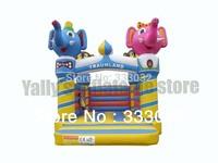 Hot sales! lovely cartoon Elephant monkey mini bouncer jumper house 3x3m small house for kids bouncy castle