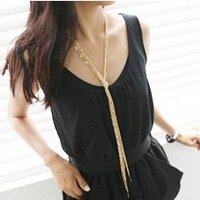 Free Shipping! Hot Sale 2013 Trendy 18K Gold Plated Multi Tassel Long Necklace Sweater Chain Fashion Accessories for Women