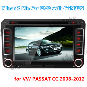 "Brand New 2 Din 7"" Touch Screen Car DVD Player with CANBUS Bluetooth GPS iPod Analog TV FM Radio RDS for VW PASSAT CC 2008-2012"
